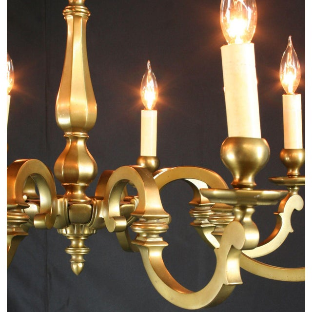 Vintage 1950 French Brass 8-Arm Chandelier - Image 4 of 7