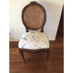 Image of Wood & Caned Chair with Cushion