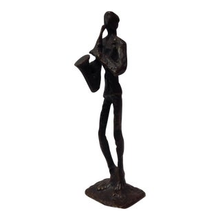 Vintage Bronze Saxophone Player Statue