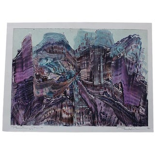 Vintage Abstract Cityscape Monoprint Painting