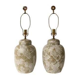 Froth Glazed Table Lamps - A Pair