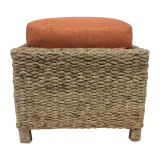 Handmade Woven Stool Mimbre with Orange Cushion
