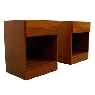 Teak Danish Modern Split Drawer Nightstands - Pair