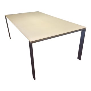 Room & Board Steel & White Glass Table