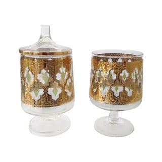 "Culver ""Valencia"" Gilt Footed Containers - Pair"