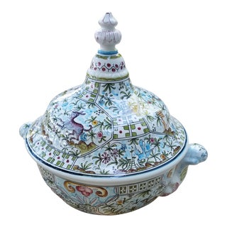 Large Faience Ceramic Hand Painted Covered Dish Tureen