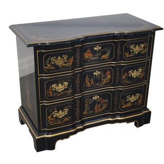 Drexel Heritage Black Lacquer Chinoiserie Chest