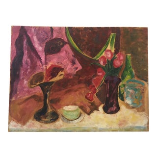 1960s Francis Graziani Vintage Original Oil Still Life Painting