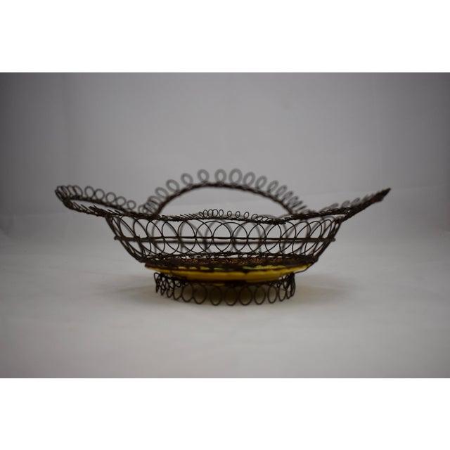 German Majolica & Looped Wire Basket - Image 6 of 11