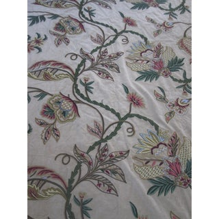 Floral Crewel Embroidered Velvet Fabric Remnant - 3.6 Yards