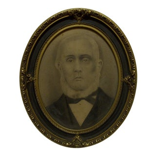"Circa 1870 Vintage Oval Framed ""David Sterrett McKnight"" Black & White Photograph"