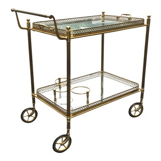 Brass Glass Top Trolley Bar Cart Removable Tray