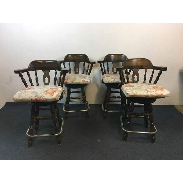 Windsor Style Carved Walnut & Metal Bar Stools - Set of 4 - Image 2 of 5