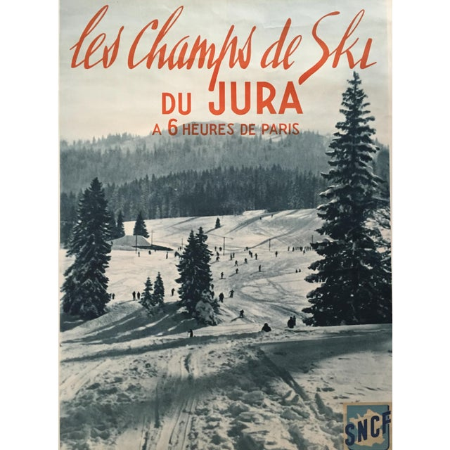Vintage 1955 French Alps Original Ski Poster - Image 2 of 4