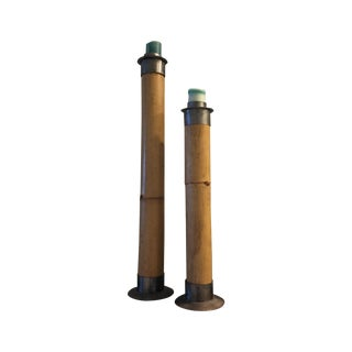 Authentic Bamboo Candle Holders - A Pair