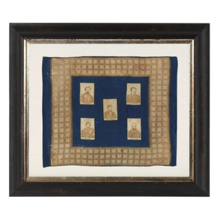 EXTRAORDINARILY RARE ABRAHAM LINCOLN KERCHIEF WITH CARTES DE VISITE PHOTO IMAGES OF THE PRESIDENT AND FOUR OF HIS GENERALS, 1861-62