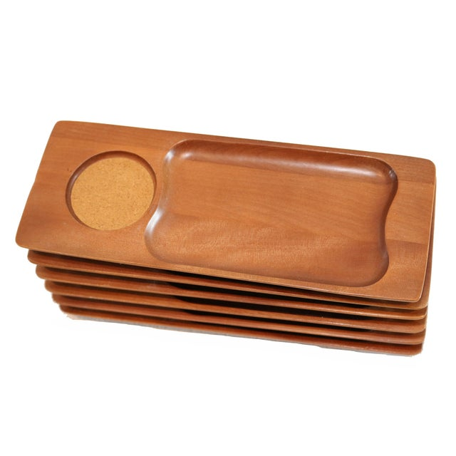 Image of Mid-Century Teak Appetizer Trays - S/6