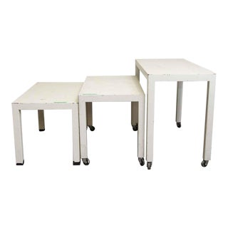 White Wooden Tables - Set of 3