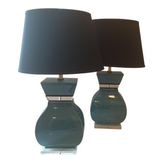 Contemporary Blue Table Lamps - A Pair