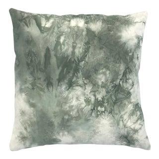 Sage Green Marbled Green Shibori Throw Pillow
