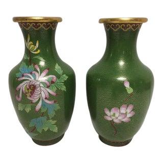 Vintage Asian Green Cloisonne Vases - A Pair