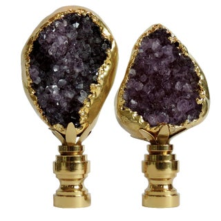 Amethyst Cluster Lamp Finials - A Pair