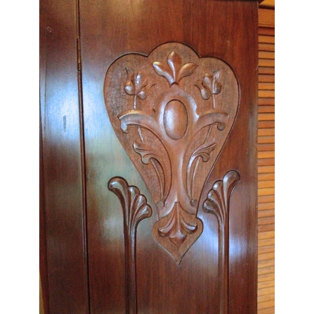 Image of Antique Carved Wood & Beveled Mirror Armoire