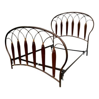 Native American Inspired Metal Wood Leather Full Bed