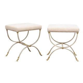 Pair of Italian Maison Jansen Style Steel and Brass Curule Upholstered Stools
