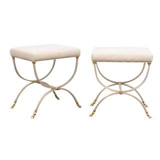 Pair of Italian Maison Jansen Style Steel and Brass Curule Upholstered Stools