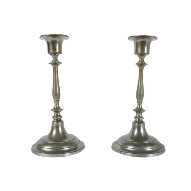 Jonkoping Nickel-Plate Candlestick - A Pair - Image 2 of 3