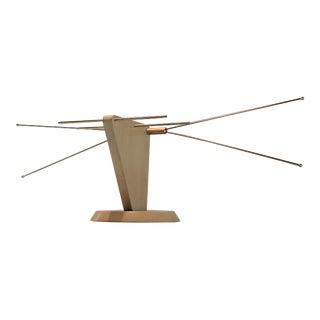 Mid-Century Wood & Brass Television Antenna
