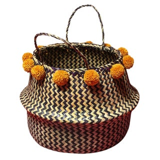 Borneo Zig-Zag Belly Basket With Gold Pom-Poms