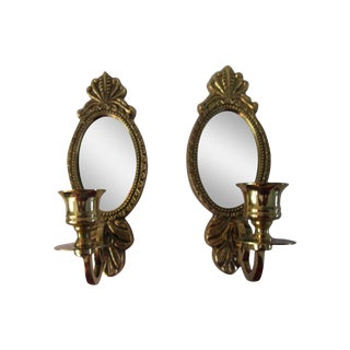 Mirrored Brass Wall Mount Candle Sconces - a Pair
