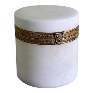 Vintage Italian Alabaster and Ormolu Dresser Jar