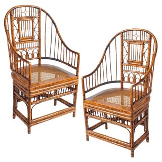 Vintage High Back Bamboo Caned Chairs- A Pair