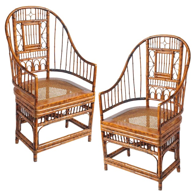 Vintage High Back Bamboo Caned Chairs- A Pair - Image 1 of 10