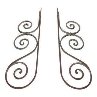 Antique Victorian Iron Brackets or Garden Ornaments- A Pair