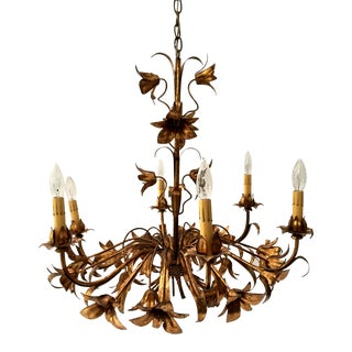 Gold Gilt Italian Tole Lily 6-Light Chandelier