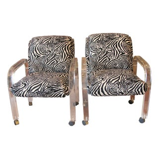 1970s Lucite Zebra Skin Chairs - A Pair