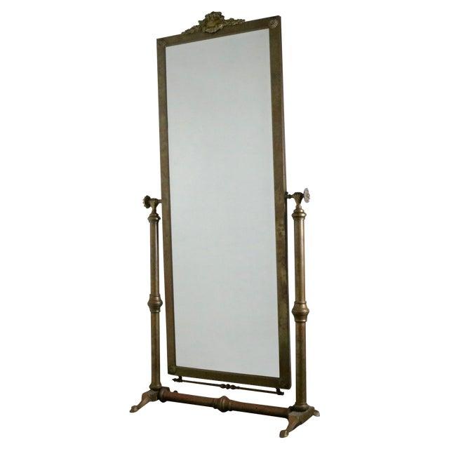 Hollywood Regency Brass Standing Mirror - Image 1 of 7