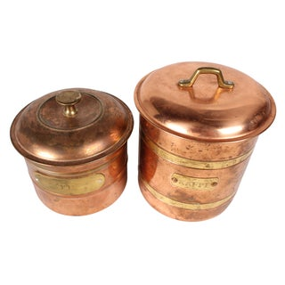 Copper & Brass Coffee & Tea Canisters - Pair