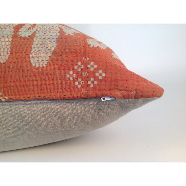 Vintage Indian Red Kantha Quilt Pillows - A Pair - Image 4 of 4