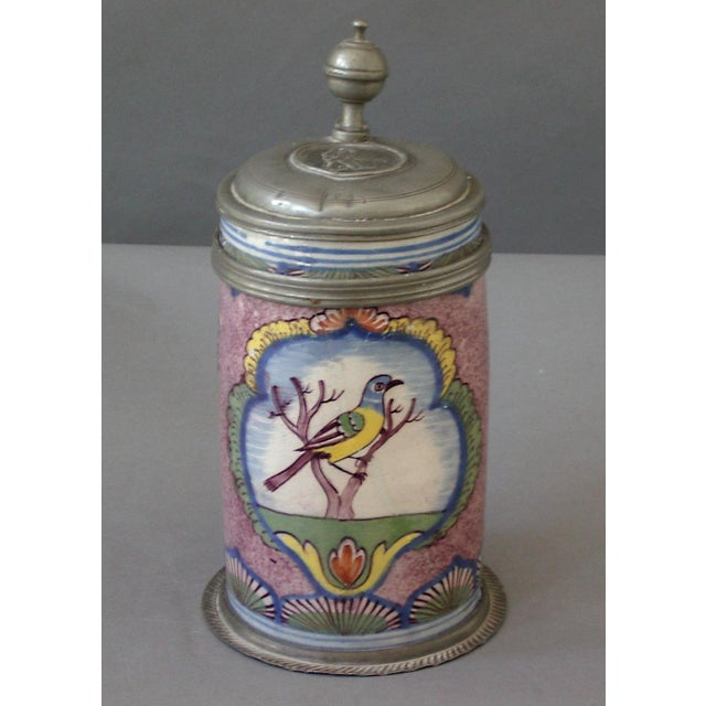 Image of Faience Tankard With Bird (#72-31A)