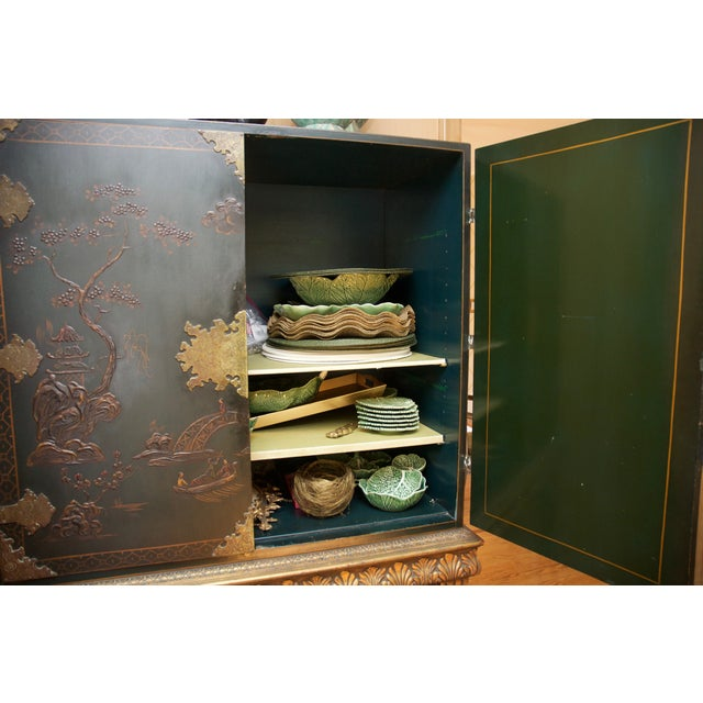 Image of Hunter Green Vintage Chinoiserie Cabinet With Rais