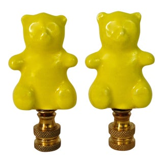 Yellow Ceramic Bear Lamp Finials - A Pair