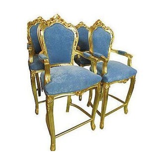 French Gilt Bar Chairs - Set of 4