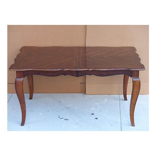 Extendable Parquet-Style Dining Table - Image 3 of 10
