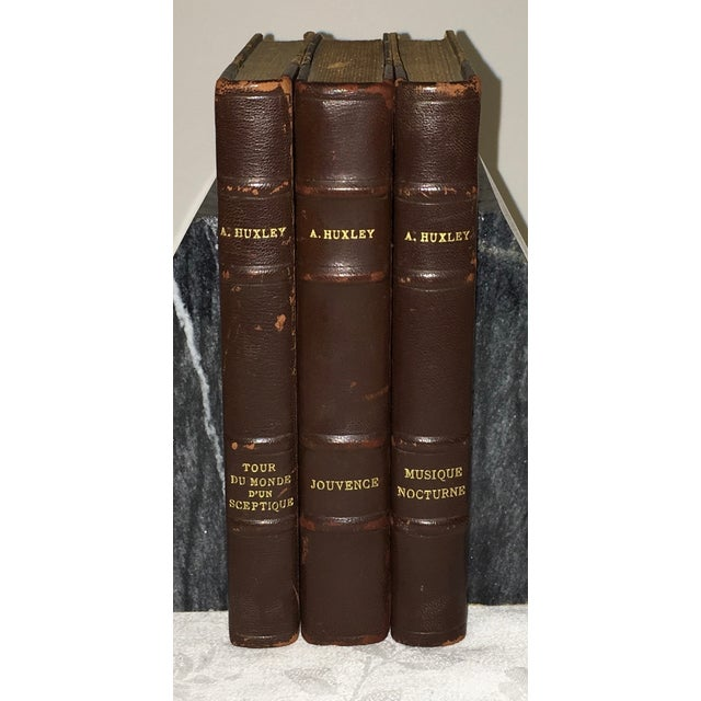 Image of French Leather Books by Aldous Huxley- Set of 3
