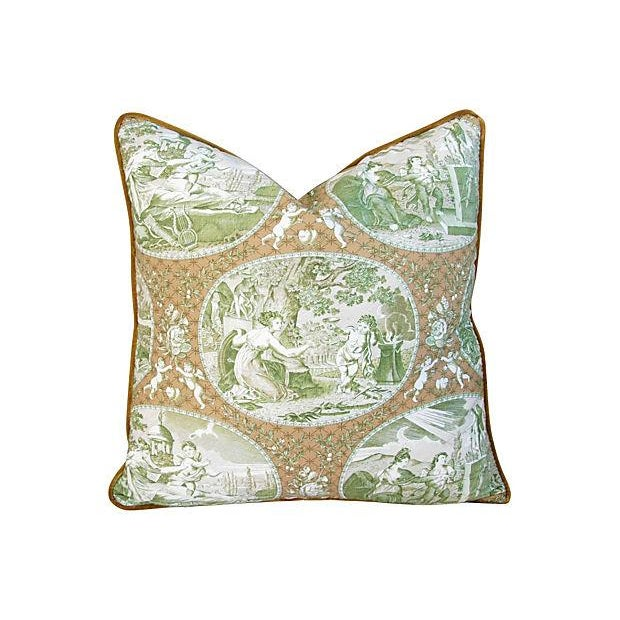 Custom Scalamandre Cupido Toile Pillows - A Pair - Image 2 of 6